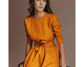 Woman linen dress. Mini linen dress. Pure linen dress. Washed linen. Wrap dress. Autumn dress - gift for her - organic clothing