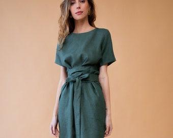 Long linen dress. Bridesmaid dress. Linen tunic. Wrap linen dress. Linen dresses for women. Linen dress. Boho dress. Summer dress.