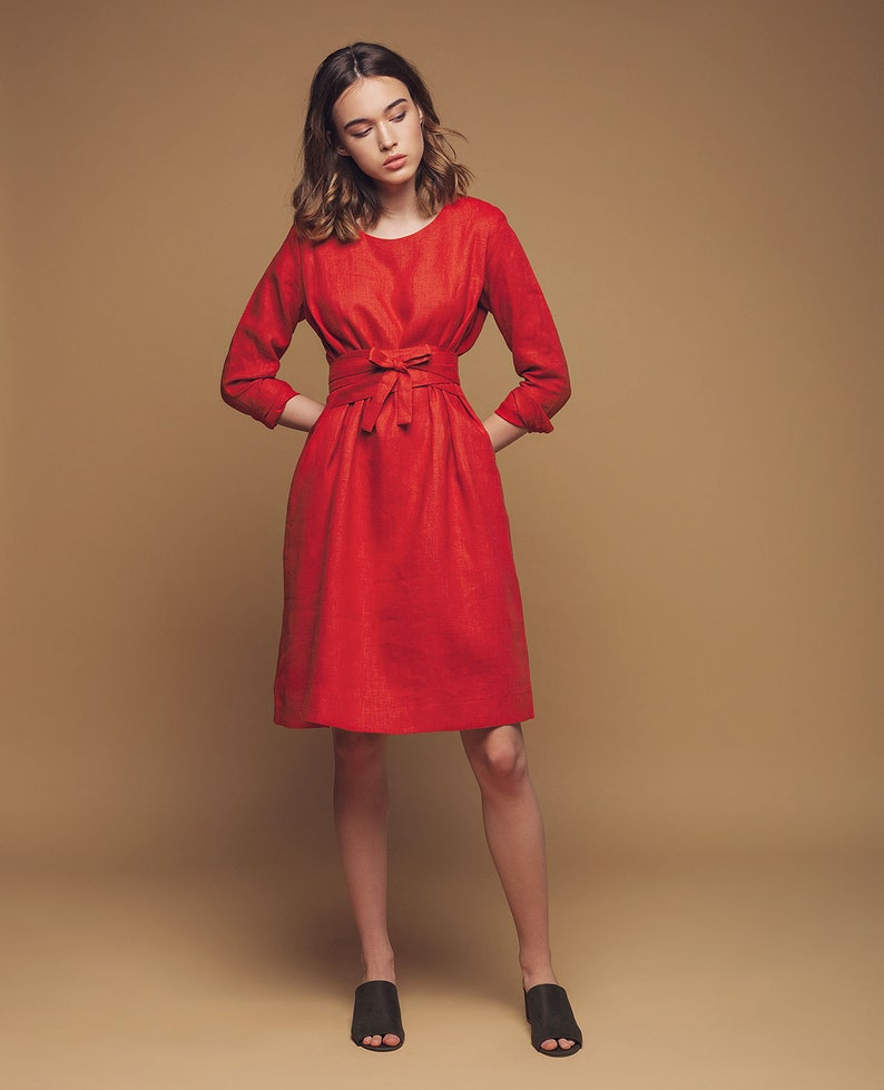 Dress for woman Linen dress Wrap linen dress Linen tunic Linen dresses for women Bridesmaid dress Summer dress. Boho dress