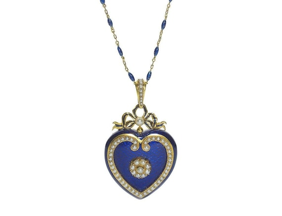 Victorian Blue Enamel Heart Locket