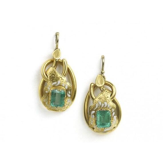 Antique Emerald & Enamel Gold Earrings