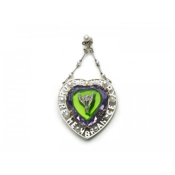 Antique Amethyst, Diamond & Glass Suffragette Pend