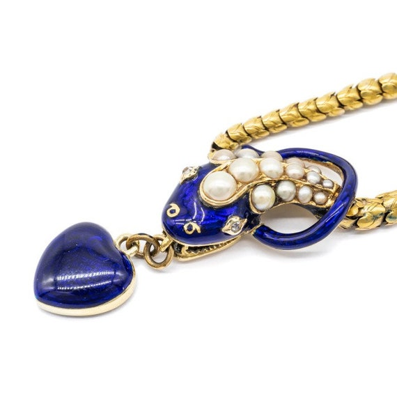 Antique Blue Enamel Snake Necklace - image 1