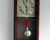 Vintage Emperor Quartz Westminster Chime Pendulum Wall Clock With A Stained Glass Panel