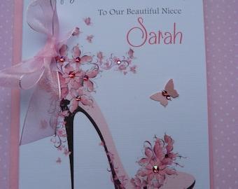 Handmade Personalised Birthday Card Friend Aunt Daughter Sister Granddaughter Mum Pink Stiletto Shoe C312