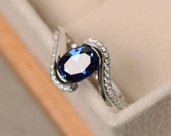 Blue Sapphire Gemstone Rings White Gold Ring