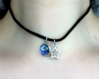Black Choker with star and planet Earth cabochon pendants