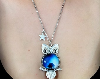 OWL with starry sky cabochon and charm star