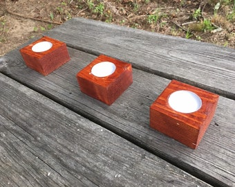 Tea Light Candle Holder Set, Wooden, Wood, Wedding, Handmade, Gift, Rustic