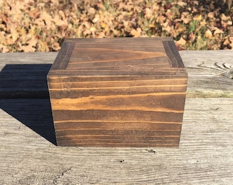 Wooden Box with Hinged Lid, Men, Ring Box