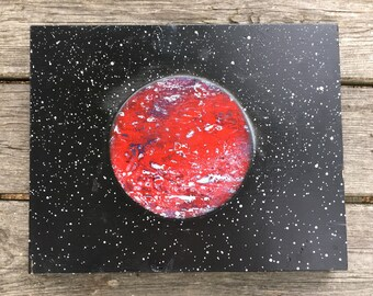 Wall Art, Painting, Planet, Galaxy, Space, Hanging, Decor, Wood, Living Room, Bedroom,  Artwork