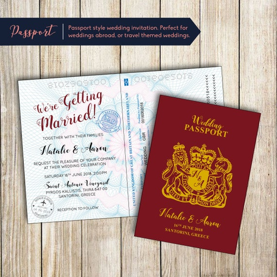 Passport Style Printable Wedding Invitation Etsy