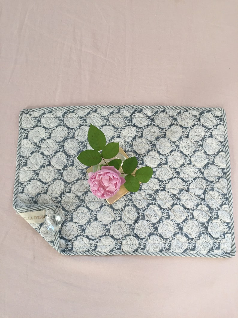 Quilted cotton placemat style quilts table cloth linen House HARRY VILLA ISSI printed hand block print Boho Chic grey