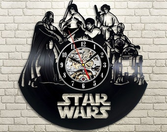 Star Wars Vinyl Wall Clock, Wall Clock Vintage, Darth Vader Vinyl Record Wall Clock, Wall Clock Modern, Han Solo Gift, Birthday Gift