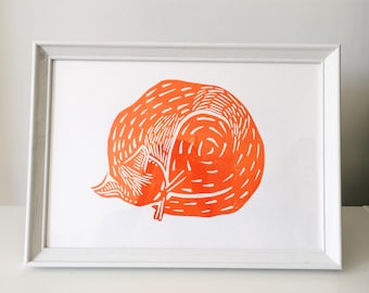 Ginger Curled Up Cat Lino Print