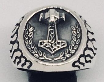 Thor/'s Hammer Mjolnir Cuff wristband protector Viking Odin Biker feeanddave