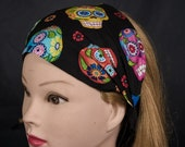Bright and colourful day of the dead candy or sugar skulls on our handmade Headband Bandana Hair Tie Ladies Girls Fashion 100 Cotton