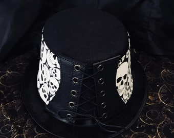 Steampunk Hat Victorian Corset Gothic Tophat Glow In The Dark Skulls Leather Fabric