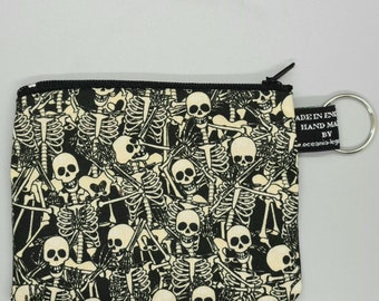 Dancing Skeleton Designer Coin Purses Handmade from Little Johnny 100% Cotton great for cash cards coins Skulls Gothic