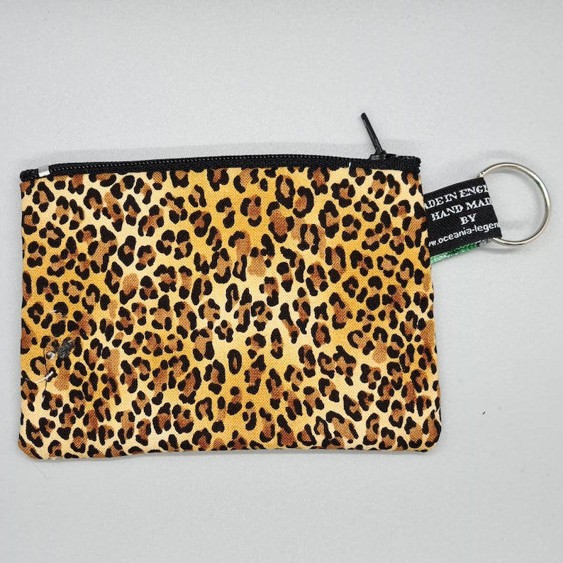 Leopard Print Sacred Heart /& Breast Cancer Aware Coin Purses Handmade from David Textiles 100/% Cotton great for cash cards coins
