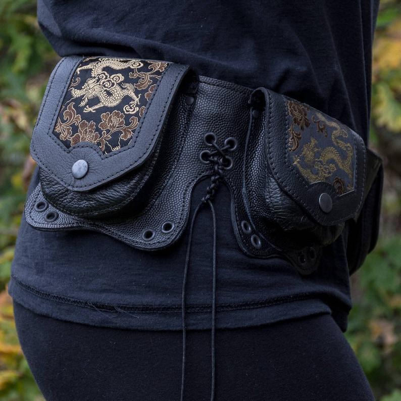 handmade leather,hip belt,pocket belt,festival clothing,steampunk,larp, Gift for him, Gift for her Utility Pouch Belt Dragon Satin Brocade