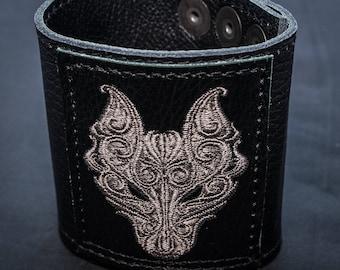 Celtic Wolf Leather Wrist Cuff/Wristband/Wrist Protector/Cuff Bracelet/Biker/Gothic/Celtic