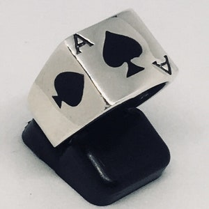 Details about  /Solid 925 Sterling Silver Ace Space Signet Ring Biker Rock Style Ring