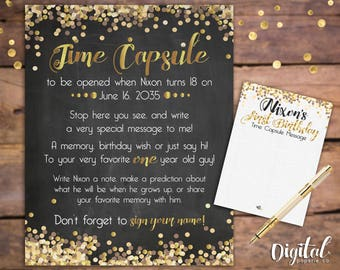 printable custom time capsule babys 1st birthday time capsule baby boy time capsule time capsule sign with message cards 1st