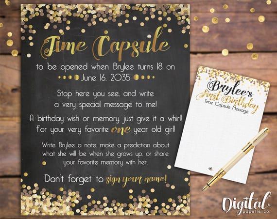 Imprimable Sur Mesure Time Capsule 1er Anniversaire Time Etsy
