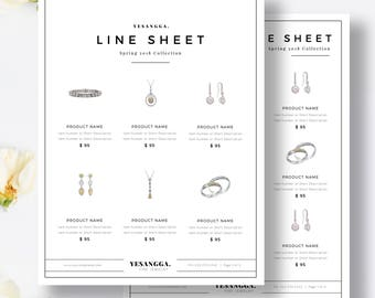 Wholesale Line Sheet Etsy - Wholesale line sheet template