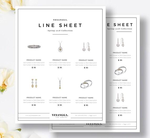 Minimalist Line Sheet Template Wholesale Catalog 4 Layouts