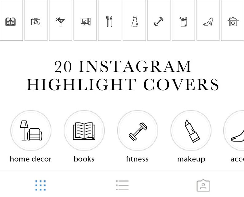 Instagram Stories Highlights Icons, Set of 20 Instagram Highlights Icons,  Lifestyle Blogger Icons, INSTANT DOWNLOAD!