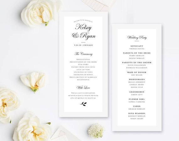 editable wedding program template order of ceremony template etsy