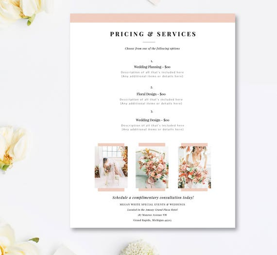 Wedding Planner Price List Template Event Coordinator Pricing Etsy