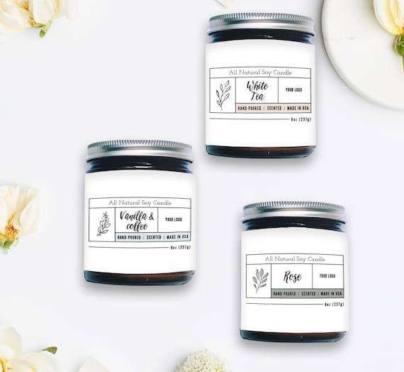 Kerze Etikettenvorlage benutzerdefinierte Label-Design | Etsy
