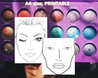 Face Chart, Makeup Chart, Makeup Sales Sheet, A4 size women practice board for the use of practicing face painting and make up, PRINTABLE