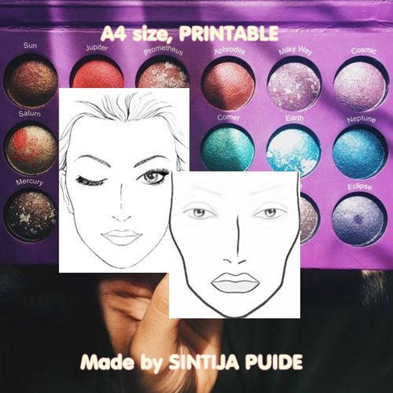 picture about Printable Face Painting Chart identify Confront Chart, Make-up Chart, Make-up Product sales Sheet, A4 sizing gals coach board for the employ of training facial area portray and deliver up, PRINTABLE