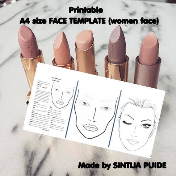 graphic about Printable Face Painting Chart identified as Confront Chart, Make-up Chart, Make-up Product sales Sheet, A4 measurement females educate board for the employ of working towards encounter portray and deliver up, PRINTABLE