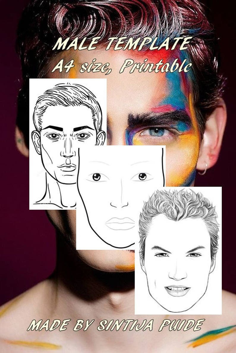 graphic relating to Printable Face Painting Chart called Confront Chart, Make-up Chart,Make-up Revenue Sheet, A4 dimensions man educate board for the retain the services of of practising facial area portray and create up, PRINTABLE