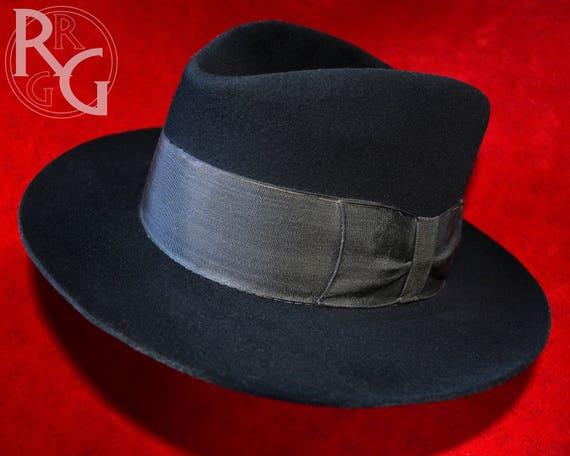 Sombrero de fieltro vintage negro y antiguo francés Baudet  e853bc78f7b