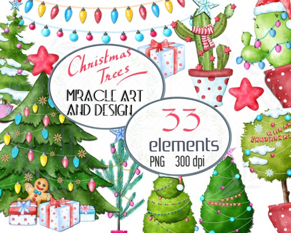 Christmas Trees Clipart Watercolor Xmas Party Decor Clipart Xmas Invitation Greetings Clipart Noel Cactuscommercial Use Cute Planner Sticker