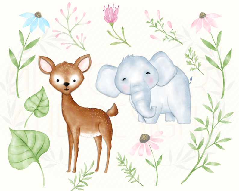 Cute Woodland Animals Baby Babies Clipartwatercolor Floral