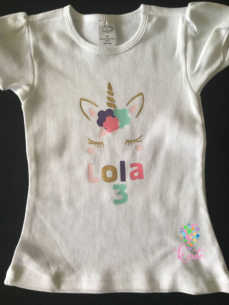 Unicorn Birthday Shirt Personalized Custome