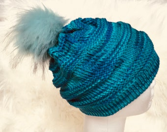 Slouchy Blues and Greens Knit Hat