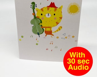 Recordable Audio Talkie Cards - Cutes Bass - With 30 second Audio