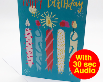 Recordable Audio Birthday Cards - Candle - With 30 second Audio