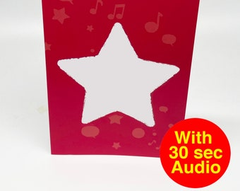 Recordable Audio Talkie Cards - Star - With 30 second Audio