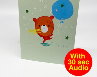 Recordable Audio Talkie Cards - Cutes Trumpet - With 30 second Audio