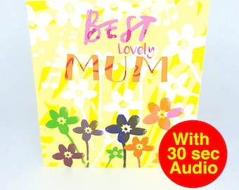 Recordable Audio Cards - Best Mum - With 30 second Audio