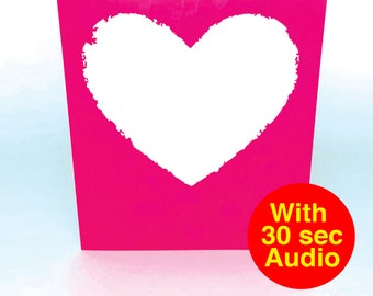 Recordable Audio Cards - Heart Blank - With 30 second Audio
